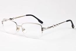 Оптовые прозрачные солнцезащитные очки для мужчин онлайн-2017 Оптовая вождения солнцезащитные очки для мужчин роскошный дизайнер рог буйвола очки половина кадра золото и серебро металлические рамы прозрачные линзы