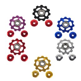 Wholesale Bicycle Parts Accessories - Road Bicycle MTB Mountain Bike Rear Derailleur Aluminum Alloy 11 Teeth Guide Roller Idler Bearing Pulley Jockey Wheel Part Accessory 2505049