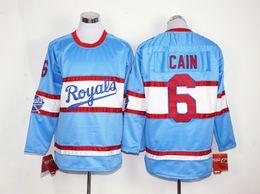 Wholesale Royal Blue Baseball Uniforms - Royals #6 Lorenzo Cain Long Sleeve Jersey Royal Blue Baseball Jerseys New Arrival Men's Baseball Shirts Uniforms Stitched Name and Number
