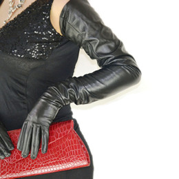 "Wholesale Women Long Opera Gloves - 75cm(29.5"") long plain style top quality leather long leather gloves evening opera gloves in black"