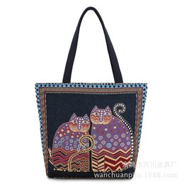 Wholesale Cell Phone Cloth - Free Shipping Autumn and Winter Women Man Cloth Bag Cross Section Shoulder Bag Female Cat Handbag Large Cloth
