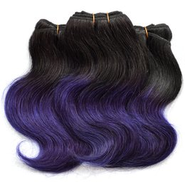 Wholesale Factory Direct Weft - 7A Fashion Purple Ombre Human Hair Weave Body Wave Wholesale Factory Direct Sell Two Tone Unprocessed Brazilian Hair 6 Bundles lot