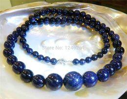 Wholesale Blue Aventurine Stone Beads - Wholesale- 6-14mm Galaxy Staras Blue Sand Sun Sitara Aventurine Round Beads Necklace Rope Chain Beads Jewelry Natural Stone (Min Order1)