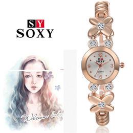 relogios de forma única Desconto Novo 2016 de Alta Qualidade Mulheres Relógios De Pulso Inoxidável relógio em forma de folha SOXY Mulheres Rhinestone Relógios de Design único Relógios de Quartzo