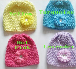 """Wholesale Mini Hair Hats Clips - 100pcs baby waffle crochet hats hair flowers clips sunny soft toddler beanie with 2"""" mini daisy flower stretch caps feshion hot sell MZ9112"""