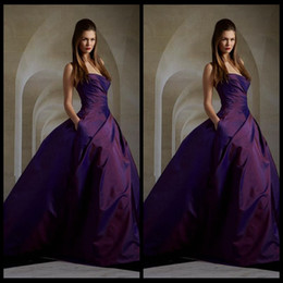 Wholesale Strapless Maternity Summer Dresses - 2016 Charming Purple Evening Dresses Sleeveless Elie Saab Dresses Ball Gown Ruched Taffeta Long Dress Prom With Pocket