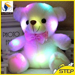 Wholesale Shipping Stuffed Bear - Free Shipping 10pcs lot Hot Sale 20CM Colorful Glowing Teddy Bear Luminous Plush Toys Stuffed Teddy Bear Doll Lovely Kids Gifts ST012