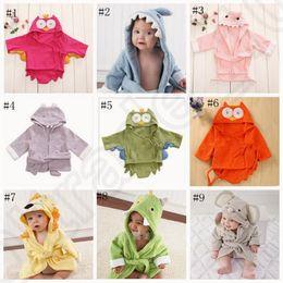 Wholesale Kids Bathrobe Hooded Wholesale - Kids Animal Bathrobe Toddler Girl Boy Baby Cartoon Pattern Towel Hooded Bath Towel Terry Wrap Bath Robes 18 styles OOA758 100pcs