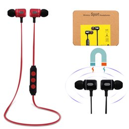 Wholesale Headset Audio - Bluetooth Headsets Sports Magnetic Wireless Earphones Metal Music Earbuds Stereo Audio In-Ear Headphone for Smart Phone iphone Samsung