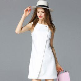 Wholesale L Brooch - Wholesale- European fashion style 2016 summer women dress o-neck sleeveless dresses with big brooch Ladies mini sexy bodycon Dress