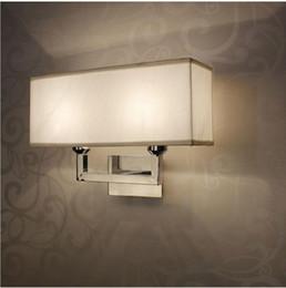 Wholesale Fabric Lampshades - Vintage Iron led wall lighting fabric lampshade rectangle wall light Via Study Foyer Lighting Decorative Plating indoor lights