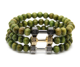 Wholesale New Fashion Jewelry Wholesale Retail - 2016 Retail New Arrival Jewelry Wholesale Platinum Fitness Fashion Fit Life Dumbbell Bracelets, Mens Party and Christmas Gift