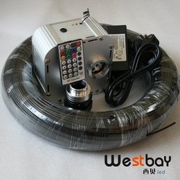 Wholesale Optic Speed - Wholesale-NEW 32W RGB 4-speed Twinkle LED Fiber Optic star ceiling kit light 250M inner Dia 2.5mm black PE optic fiber+28key RF remote