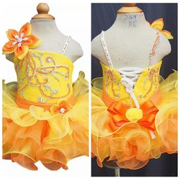 Wholesale Corsets Tutus Dresses - Handmade Flower Adorned Yellow Beaded Girls Pageant Cupcake Dresses Infant Tutu Gowns Toddler Baby Girls Corset Back Mini Birthday Dress
