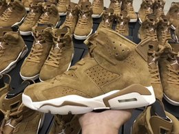 Wholesale Wheat Free - Authentic Air Retro 6 Golden Harvest Basketball Shoes All Wheat Suede Sneakers for men free shipping Running shoes size 7-13