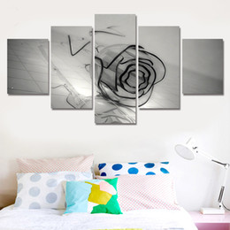 Wholesale Black Artwork Pictures - 5 Panels 5 Panels Artwork Canvas Painting Wall Art Canvas Paintings For Living Room Wall Cuadros Black Rose Canvas Prints Photo
