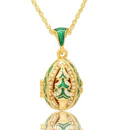 Wholesale Enamel Christmas Tree - Christmas tree locket pendant Necklace Faberge Egg pendant Handcrafted with Enamel colors russian style for Easter day