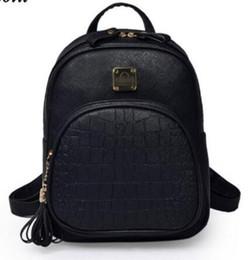 Wholesale Shoulder Bag Knitting Pattern - Korean Backpacks Fashion Small Shoulder Bag Crocodile Pattern PU Leather Backpack Embossed School Bags Backpack Women SC0390