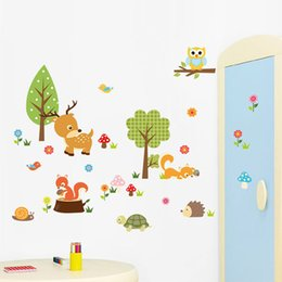 Wholesale Wallpaper Cartoon Owl - Owl Deer SquirreL Hedgehog Wall Stickers Animal Cartoon Wall Decals Kids Room Kindergarden Nursery Wallpaper Home Decoration