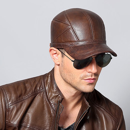 Wholesale Ear Protector Cold - New Winter Autumn Men's Genuine Cowhide Hats Keep Warm with Ear Flaps Protector Men Outdoors Baseball Caps Snapback Windproof Anti-cold