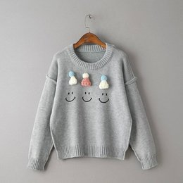 Wholesale Embellished Hats - Wholesale- Women Pullover Sweater Fashion 2016 Autumn decoration smiley Hat Embellished Round Neck Long Sleeve Drop Shoulder Cute Sweater