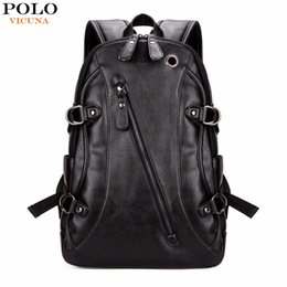 Wholesale Mens Backpack Casual - VICUNA POLO High Quality Practical PU Leather Mens Backpack Famous Brand Casual Men Laptop Backpack Black School Travel Backpack