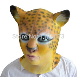 Wholesale Leopard Sexy Girl Costume - Leopard Head latex Mask Sexy Women and Girl Halloween Masks Vivid Shape Original Design Costume Party Free Shipping