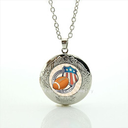 rugby accessories Coupons - American football jewelry locket necklace sport rugby jewelry football sport silver plated accessory for father and brother NF060