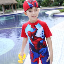 Wholesale Super Man Baby - New arrival super cool kids spider-man swimming wear baby boys one piece snorkeling wear with cap