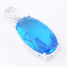 Wholesale Crystal Gem Necklace - 10 Pcs 1 lot LuckyShine Excellent Fire Oval Sky Blue Topaz Gems Crystal 925 Sterling Silver Wedding Pendants Russia American Australia
