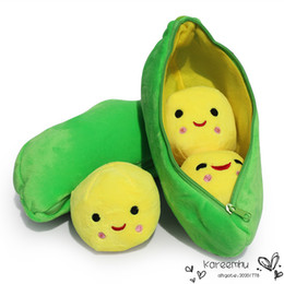Wholesale Stuffed Peas Pod - Free Shipping Retail 9''22cm Super Cute Little Peas Stuffed Plush Dolls 3 Peas in a Pod Pea Toys For Children