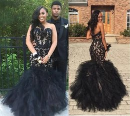 Wholesale Layered Evening Gowns Plus Size - Gorgeous Black Appliqued Lace Long Prom Dresses 2017 Strapless Layered Organza Evening Gowns Long Satin And Tulle Formal Party Dress