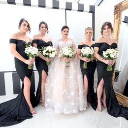 Wholesale Black Gray Wedding Gowns - Black Mermaid Bridesmaid Dresses Plus Size Sexy Side Split Guest Gowns Off Shoulder Beach Wedding Party Maid Of Honor Dresses Cheap 2017