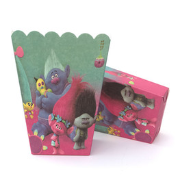 Wholesale Popcorn Supplies Wholesale - 12pcs Trolls Cartoon Candy Bag Kids Birthday Party Supplies Popcorn Box Case Gift Box Party Favors Accessories Baby Shower Decor