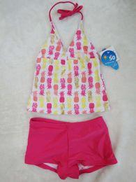 Wholesale Girls Uv Suit - Baby Girls 2 pieces Swimwear Kids UV protection UPF 50 Tankini Swimsuit Baby Girl Bathing Suits Kids Swimming Beachwear Clothes