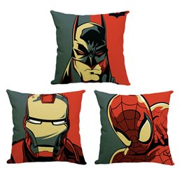 Wholesale Batman Throw - Superman pillow case, spiderman pillowcase, superhero batman Flash throw pillowcase pillow cover movie sofa pillowcase 240628