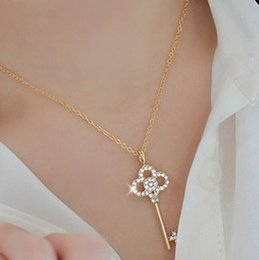 Wholesale Wholesale Jewelry Key Charms - Long Strip Key Crystal Pendants Necklaces Jewelry collier femme Hot Fashion Gold Plated Chain Necklace Pendants