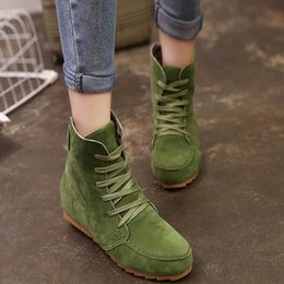 Wholesale Korean Shoes Flat Boots - Vogue Autumn Winter New Korean Style Womens Female Lady Fashion Casual Retro Mujer Warmth Ankle Boots Flat Lace Up Martin Bottine Shoes C043