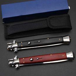 Wholesale Blade Spring - AKC Italian Mafia 13-inch switch blade portable folding automatic Spring knife 440C wood high quality 58HRC knife