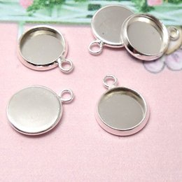Wholesale Round Pendant Trays - Wholesale-30pcs Inner 20mm 10mm 14mm 16mm 18mm 25mm Round Pendant Blank - Silver Tone Charm Setting DiY Bezel Pendant Tray Base 4 Necklace