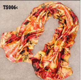 Wholesale Real Pashminas - Infinity Scarf Flower Print Boutique Vintage Real Silk Long Scarves New Fashion Women Pashmina Shawl Wraps Accessories for Party Gift Sale