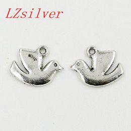 Wholesale Dove Charms - Hot ! 100pcs Antique silver Alloy Peace Dove Charms Pendants 13x17mm DIY Jewelry