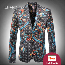 Wholesale Patterns For Velvet Dresses - Chinese dragon pattern casual suits for men High quality 3D digital printing velvet fabric 1PCS wholesale wedding groom dress mans suits