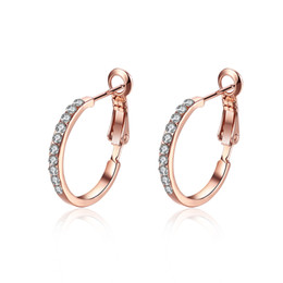 Oro blanco libre de níquel online-Big Round Creole Hoop Earrings Nickel Free Antialérgico 18 K Oro Real Plateado Oro Rosa y Oro Blanco Bisutería Cristal