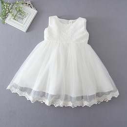 Wholesale Baptism Gowns Wholesale - Wholesale Newest Infant Baby Girl Birthday Party Dresses Baptism Christening Easter Gown Toddler Princess Lace Flower Dress for 1 Years