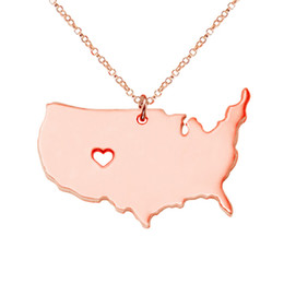 Wholesale Necklace Large Pendant - Large America Map With A Heart Hallow Stainless Steel Pendant Necklace For 3 Colour New Design Jewelry