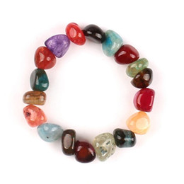 Wholesale Good Luck Beads Bracelet - 10-12mm Cracked Agate Bracelets Irregular Shape Agate Colorful Beads Good Luck Bracelets Trend Charm 7 Chakras Gemstone Bracelet Lover Gift