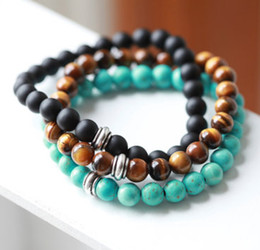 Wholesale 8mm Natural Onyx Beads - SN0041 Designer 8mm Natural Stone tiger eye Turquoise Onyx Black beaded Mens Bracelet with alloy bead