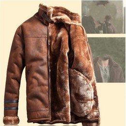 Wholesale Suede Jacket Fur Collar - Wholesale- 2017 Winter Fashion Mens Stand Collar Coats High Quality Thick Fur Lining Jackets Suede Leather Warm Winter Jacket Vintage Coat