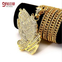Wholesale Gold Chains Bling - 2016 New Silver Praying Hands Hiphop Bling Necklace Mens 18k Gold Religous Jewlry Iced Out Prayer Jesus Women Men Gift Plating
